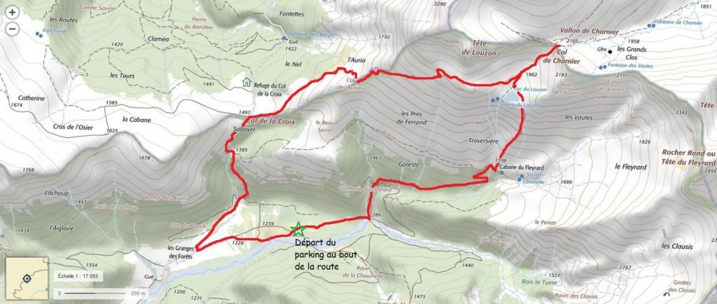 Itinéraire pour le col du Charnier en partant de La Jarjatte